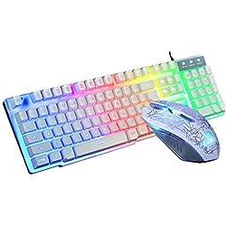 Clavier Gaming Gamers, Clavier Lumineux, Souris, Tapis de Souris, Costume Rainbow Backlight USB Jeu de Clavier et Souris ergonomiques pour PC Portable (Blanc)