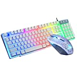 STRIR Rainbow retroiluminado USB Gaming Teclado + Rainbow Multimedia óptico de 2400dpi 6 Botones LED USB ratón para juegos + Gaming Mouse Pad 220 * 180 * 5 mm Tamaño estándar (Blanco)