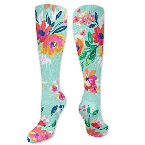 ouyjian Bright Floral Blooms On Beach Glass Aqua Women&Men Socks Dress Socks Length 19.7in/Width 3.4in Polyester Material Knee High Socks Girls Socks Mid Stockings Personality Socks (High-cut-socken Der Männer)