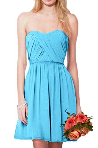 Victory Bridal Einfach Chiffon Sommer Chiffon brautjungfernkleider Abendkleider Partykleider Mini A-linie Kurz Blau