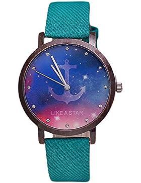 Damen Armbanduhr Like A Star keine Ziffern Strass Jeansband Anker gruen