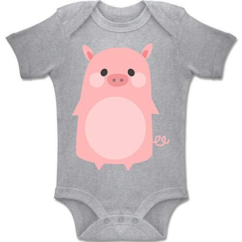 Für Schweinchen Kostüm Kleinkind - Shirtracer Karneval und Fasching Baby - Fasching Kostüm Schweinchen - 1-3 Monate - Grau meliert - BZ10 - Baby Body Kurzarm Jungen Mädchen