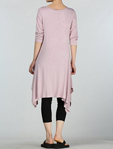Vogstyle Donne Casuale Top Mezza Manica Shirt Abito Taglia 11 Colori S-4XL Rosa