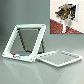 Fontic Chatière Porte à 4 Positions Cat Mate Grande Blanc Porte Verrouillable pour Chat ou Chien Facile à installer L