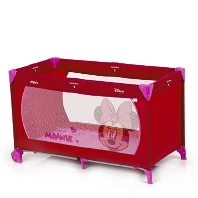 Hauck 601136 Dream'n Play Go - Cuna de viaje, parque de juegos con diseño de Minnie Mouse (60 x 120 cm, 2 ruedas), color rosa