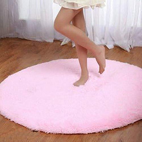 Super Soft Chenille Fiber Runde Shag Bereich Teppiche und Teppich Sitting Room Schlafzimmer Teppich Computer Stuhl Kissen (Pink) -