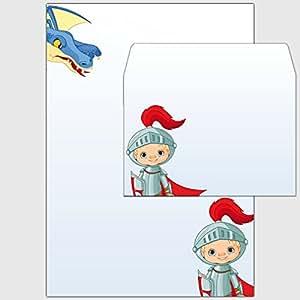 """'Coffret: 25x papier à lettre """"Chevalier et Dragon–Format DIN A4et Enveloppes au format DIN C6"""