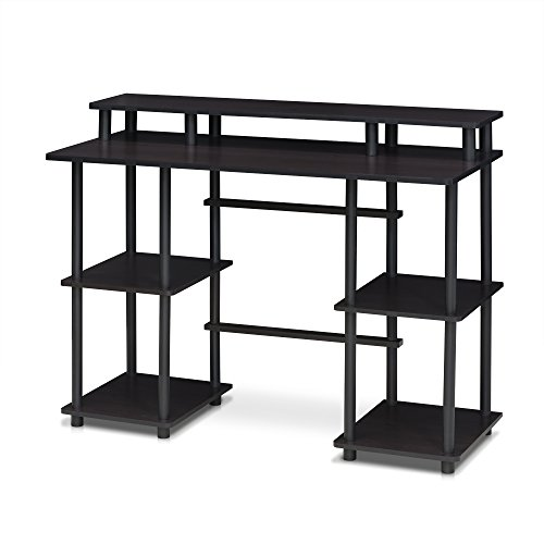 Furinno Turn-N-Tube Computer Desk with Top Shelf, Espresso/Black 17045EX/BK - Roll-top Desk