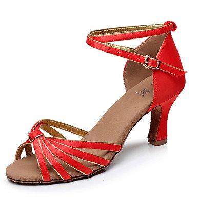 Silence @ pour femme fille Chaussures de danse latine/Salsa/Samba satiné Talon Noir/marron/rouge/multicolore noir