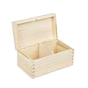 Boîte à thé en bois naturel brut avec 2 compartiments 9,5 x 16,5 x 8 cm BARTU