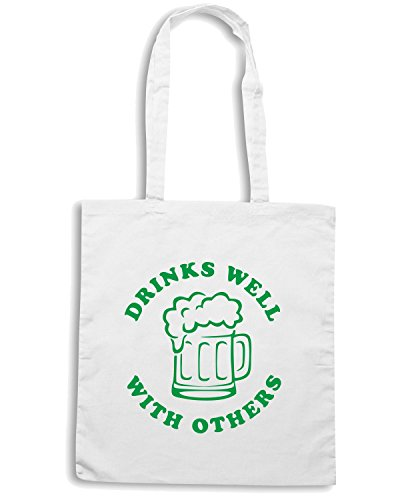 T-Shirtshock - Borsa Shopping TIR0039 drinks well with others beer white tshirt Bianco