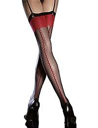 Anais - Bas nylon voile à couture noir et rouge 20d pour Porte-Jarretelles - Fiore