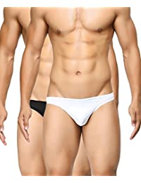 BASIICS by La Intimo Men's Black, White Semi-Seamless Feather Weight Brief (Pack of 2)