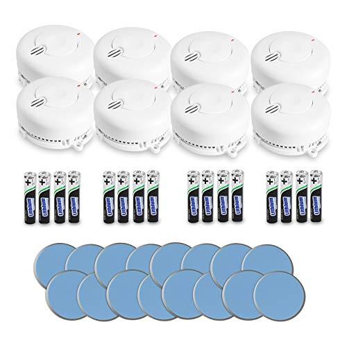 AngelEye 8er Set Rauchmelder - 10 Jahre Batterie Langzeit Lithium Brandmelder/Feuermelder inkl. Magnethalterung DIN EN14604, Weiß