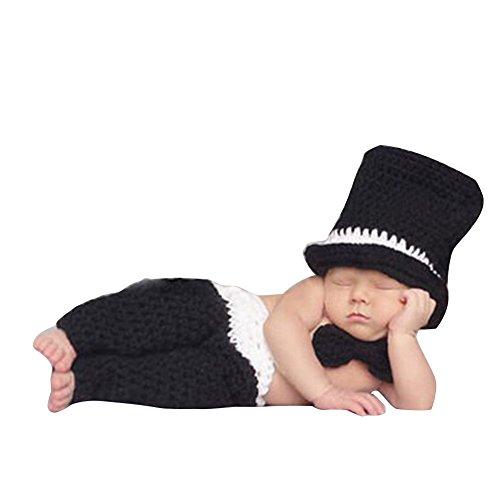 YiZYiF Foto Fotografie Prop Jungen Kinder Baby Kostüm Nette Gentleman Stricken Handarbeit Sets 2tlg. Häkel Hut + Hose (Schwarz ()