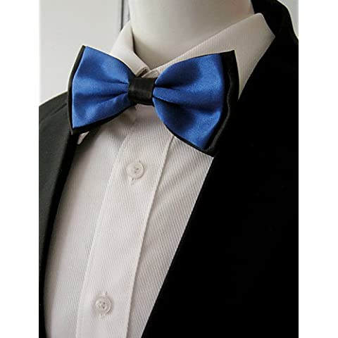 Uomo Nero Navy solido pre-legato Ajustable SilkBlend abito da sposa