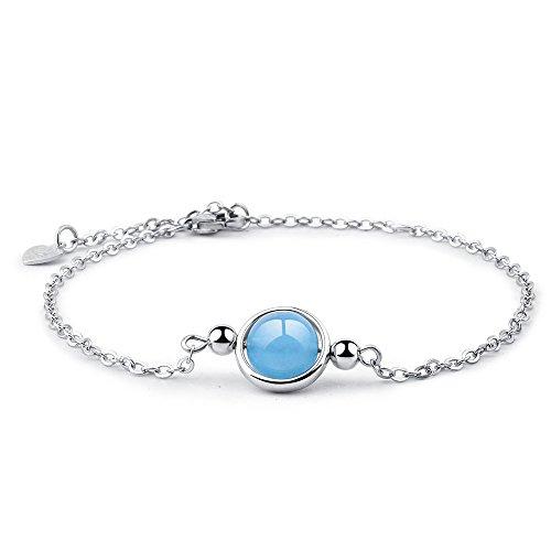 Dalwa Damen 925 Silber Armband mit Edelstein Aquamarin - Charm Armkette im'Maritimen Stil' mit Weißgold Überzogen inkl. Geschenkverpackung