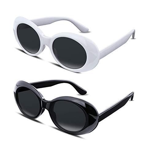 TEN-G Clout Goggles Kurt Cobain Sunglasses Retro Oval Women Sunglasses B2253 (White+black)