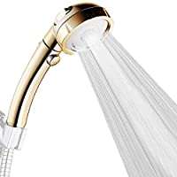 High Pressure Handheld Showerhead Detachable Water Saving 3 Modes Adjustable Shower Head ON/OFF Switch (Gold)