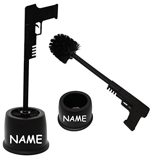 """Preisvergleich Produktbild Set _ WC Bürstenhalter - """" Pistole / Gewehr """" - incl. Name - ohne bohren / stehend - Halter Bad - Stand Bürstengarnitur / Klobürste & Klobürstenhalter - Design schwarz - lustig / Ständer Badezimmer - Toilettenhalter - Deko - Toilettenbürstenhalter / Toilettenbürste - Klo & Toilette - WC-Bürste / Bürsten - Pistolengriff / Waffe - Garnitur"""