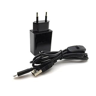 AptoFun 5V 2A Micro USB Ladegeräte (mit An/Ausschaltknopf am Kabel) für Arduino UNO, Nano Raspberry Pi 3/2 und Smart Phone,iPhone, iPad, Powerbank in Schwarz