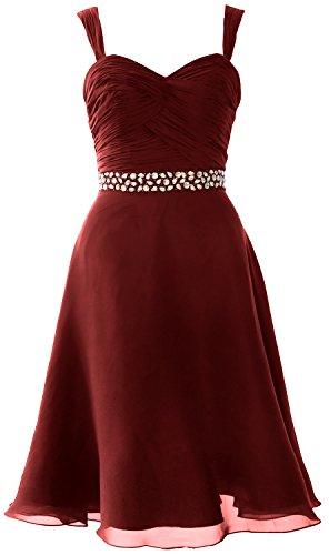 MACloth Elegant Straps Chiffon Cocktail Dress Short Wedding Party Formal Gown Burgundy