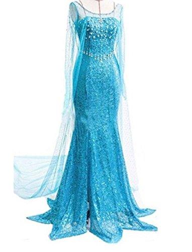 Ninimour Maechen Eiskoenigin Prinzessin Cosplay Fasching Kostuem Tutu Kleid, Blau, Gr.S (Elsa Kleider Disney)