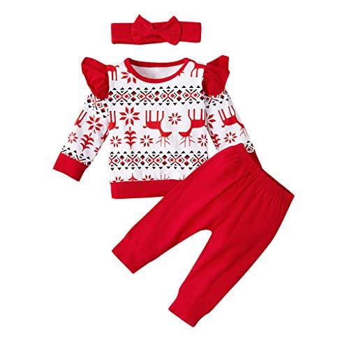 Ucoolcc Weihnachten Neugeborenes Baby Mädchen Outfits Set Fliegender Ärmel Strampler Tüll Hose Rock Bogen Applique Haarband