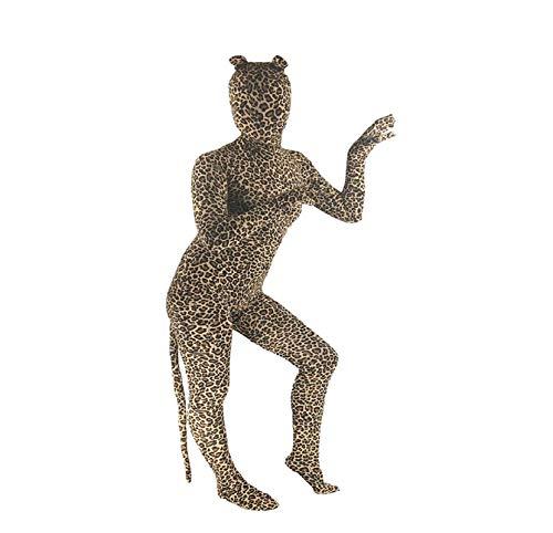 chsene Halloween Tiere Motiv Kostüm mit Maske für Fasching Karneval Cosplay Rollspielen, Leopard 6 ()