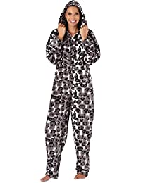 Ladies Annie Animal Print 84408 Soft Warm Polar Fleece Onesies Pyjama SleepSuit Lounge Wear grey 14-16