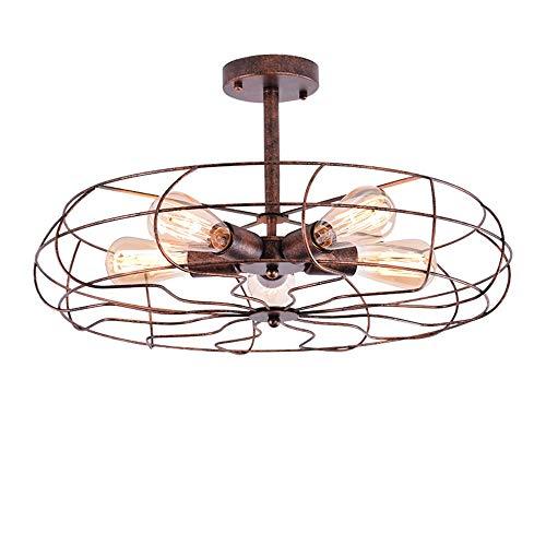 SPA / Vintage Industrial Fan Stil Schmiedeeisen Halb Flush Mount Deckenleuchte Kronleuchter Rustikale Leuchte mit 5 Lichtern -