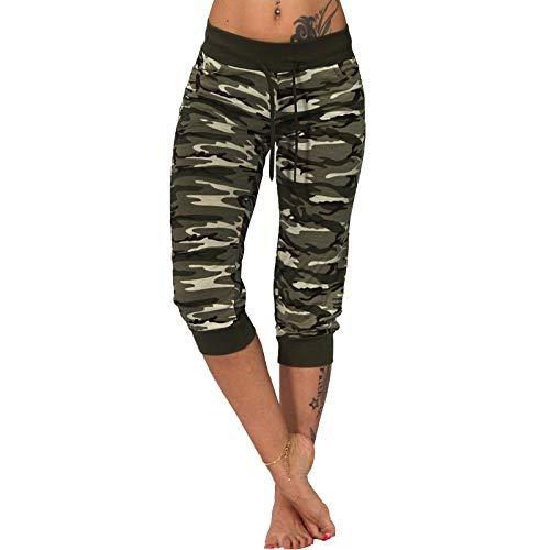 Candygirls 3/4 Leichte Jogging Capri Hose Camouflage Sport Fitness Neon Army Tarnfleck P7101 (Oliv, M = EU XS/34) Sexy Camouflage