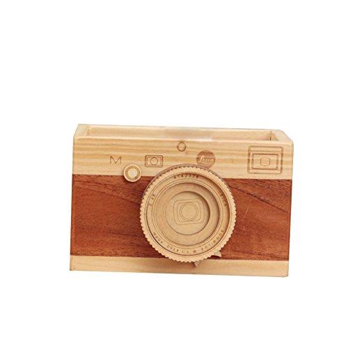 Treestar retro macchina fotografica legno portapenne penna custodia durable multifunzionale organiser da scrivania cancelleria box pennello trucco portapenne di scomparti pennello di trucco penne