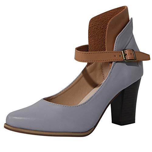 Preisvergleich Produktbild Damen Sandalen Spitz Pumps Schnalle Blockabsatz Stiefel Peep Toe Keilabsatz Stiefeletten Retro Sommerschuhe Keilabsatz Schuhe Sandaletten (EU:43,  Grau)