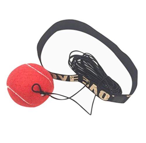 WalshK Bola de la lucha con la venda principal para el entrenamiento de la velocidad del reflejo Boxeo del boxeo Ejercicio del sacador (Rojo)
