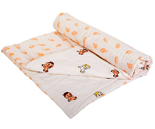 MOM'S HOME Baby's Jungle Theme Organic Cotton Soft Summer AC Quilt Blanket Cum Bedspread (Multicolour, 0-3 Years, 110x120 cm)