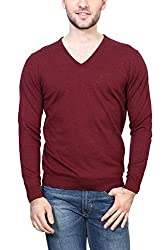 Peter England Mens Cotton Sweater (8907306796014_EKC51507180_X-Large_DarkRedWithBlack)