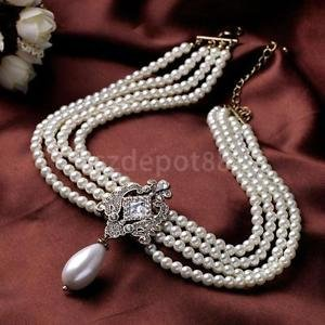 Alcoa Prime Lady Faux Pearl Necklace Multilayer Choker white Chunky Beads Luxury Jewelry