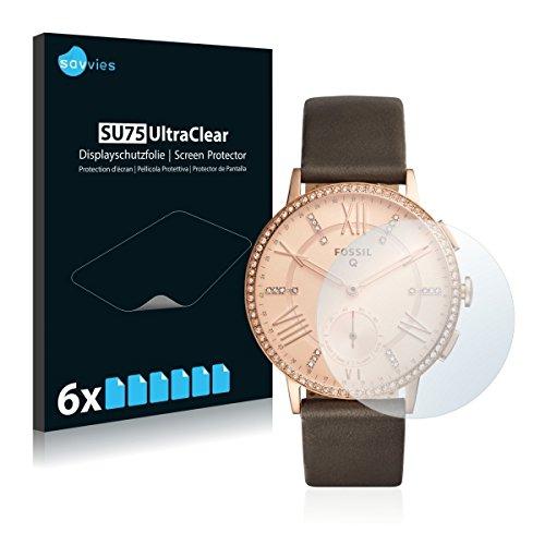 6x Savvies SU75 UltraClear Bildschirmschutz Schutzfolie für Fossil Q Gazer (ultraklar, mühelosanzubringen)