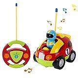 OCDAY Fernbedienung Auto RC Cartoon Zug Spielzeug mit Lichtern und Sound für Kinder Kleinkinder (Rennwagen)