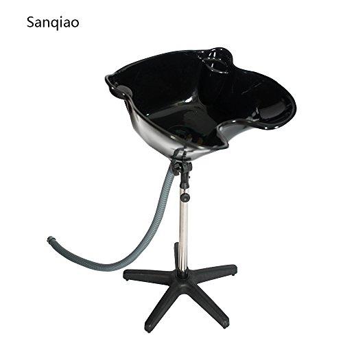 Sanqiao Mobiles Friseur Waschbecken Rückwärtswaschbecken Höhe Verstellbar Schwarz