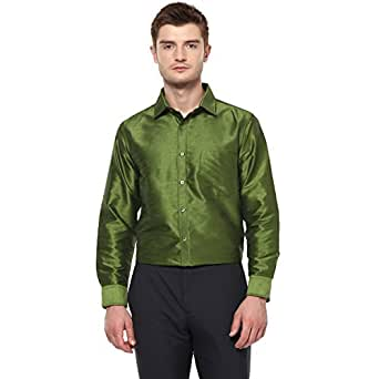 Khoday Williams Men Poly Silk Plain Solid Long Sleeve Regular Fit Casual Formal Shirt Green