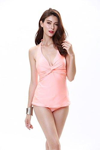 Bonverano TM Solid Glanz Halfter Damen Zwei Stück Tankini Badeanzug UPF 50+, Damen, Orange, 8