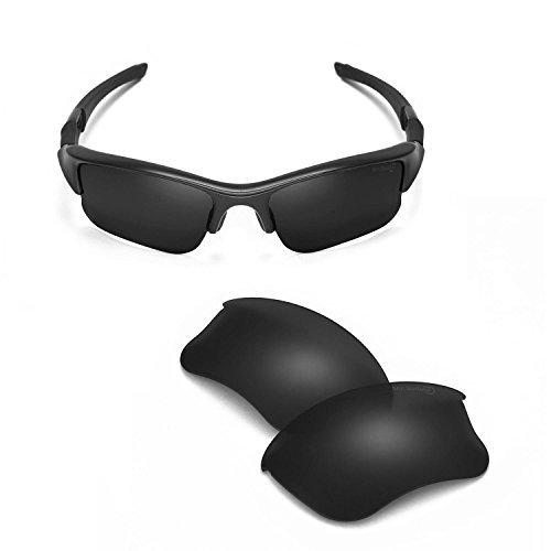 Walleva Ersatz Objektive Objektive/Gummi Kit Oakley Flak Jacket XLJ Sonnenbrille-48Optionen - schwarz - Einheitsgröße