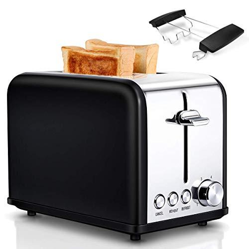 Toaster, 2 Schlitzkammern, 6 Bräunungsstufen, Automatik, 815 W, Auftauen, Aufwärmen, Absagen, Liftfunktion, mit Brötchenaufsatz und Krümelschublade, Edelstahl| Schwarz