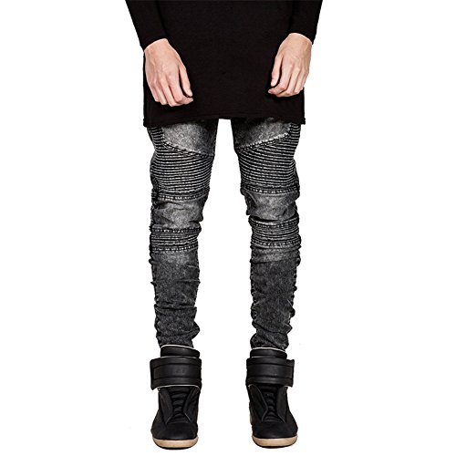 QincLing Herren Jeanshose Original Straight Fit Skinny Biker Jeans Grau