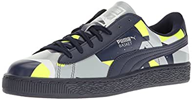 PUMA Men s Basket Classic Graphic Fashion Sneaker Peacoat-safety Yellow-quarry 4 D(M) US
