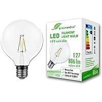 Lampadina a filamento LED greenandco® Vintage E27 G125 6.8W (equivalente a 60W) 806lm 2700K (bianco caldo) 360° 230V AC Vetro, nessun sfarfallio, non dimmerabile