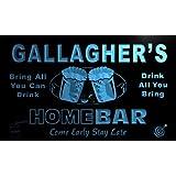 p1547-b Gallagher's Home Bar Beer Family Last Name Neon Light Sign Barlicht Neonlicht Lichtwerbung