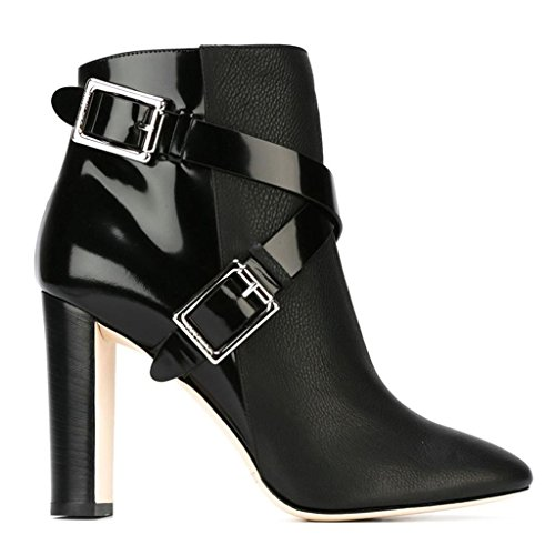 Stivaletti impermeabili della caviglia dell'alto tallone della signora Autunno Inverno Booties Stivaletti a caviglia rivettati Caricamenti del posto di lavoro pulsante in metallo Pelle 8005FD , black  BLACK-42